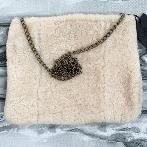 Silence + Noise Real Shearling Clutch/Shoulder Bag